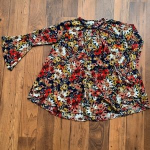 Umgee Baby Doll Bell Sleeve Floral Swing Dress